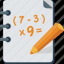 pencils, school, calculation, notebook, homework, student, mathematics, lesson, exercise, math