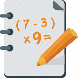 calculation, exercise, homework, lesson, math, mathematics, notebook, pencils, school, student icon