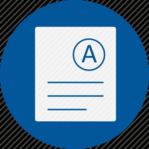 a, grade, result icon