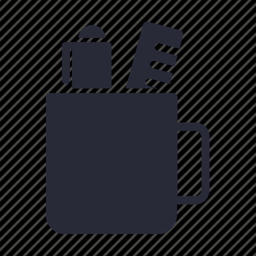 case, mug, pen, pencil icon