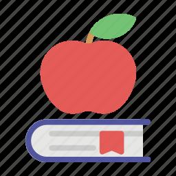 apple, book, bookmark, education icon