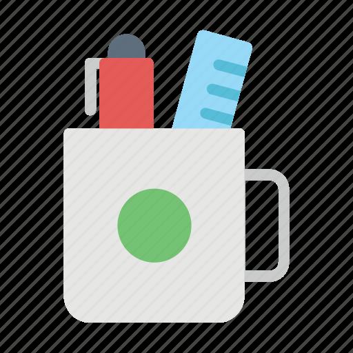 case, mug, pen, pencil, ruler icon