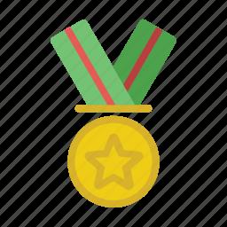 gold, honor, medal, reward, trophy icon