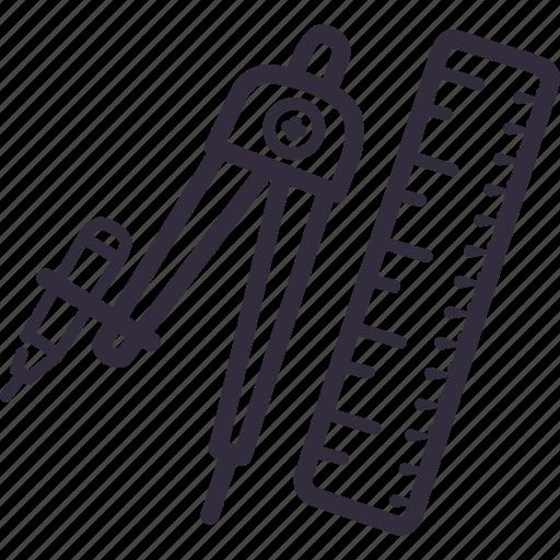 compass, design, draw, geometry, math, ruler icon
