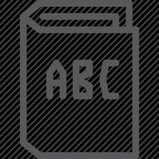 alphabet, book, education, elementary, learn, read, school icon