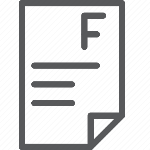 education, evaluation, f, fail, grade, mark, paper, school icon