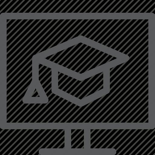 education, graduate, hat, online, pc, school, screen, study icon