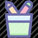 .svg, pen, pencil, pencil basket, pencils, school, tool icon