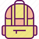 backpack, bag, school icon