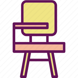 chair, desk, student icon