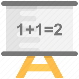 adding, basic maths, class board, school board, whiteboard icon