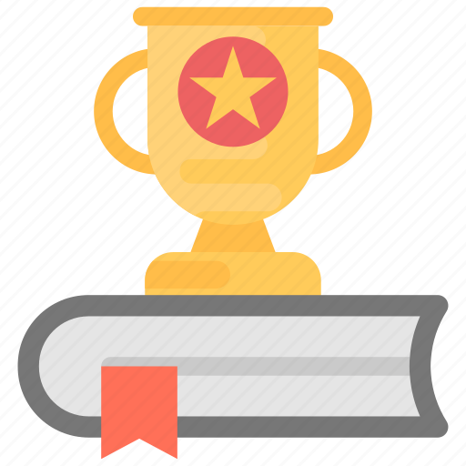 education award, education trophy, knowledge is success, success, trophy on book icon