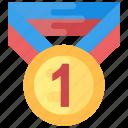 1st position, medal, position holder, star medal, winner icon