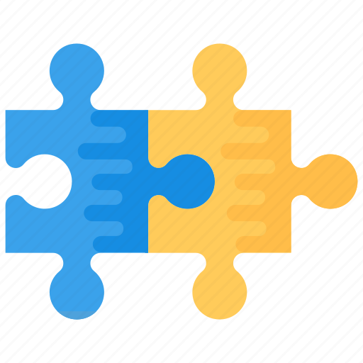 jigsaw, jigsaw pieces, jigsaw puzzle, puzzle pieces, two part puzzle icon
