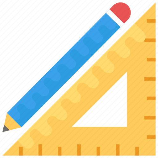 drafting, drafting tools, drawing tools, pencil and ruler, stationery icon
