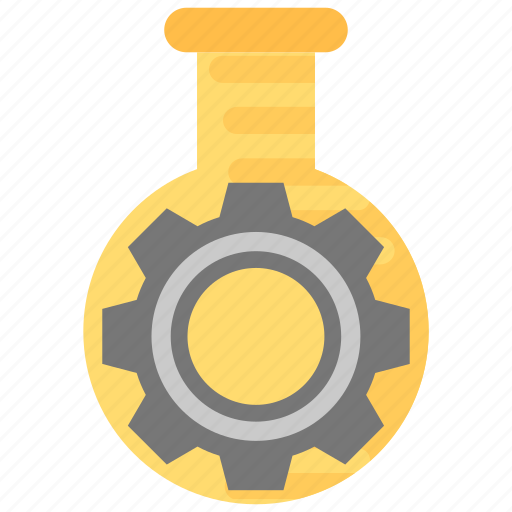 chemical industry, gear inside flask, lab management, scientific research, technology lab icon