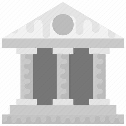 building columns, college, library, school building, university icon