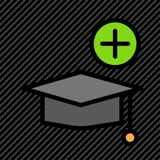 add, graduation, hat, people, student, user icon