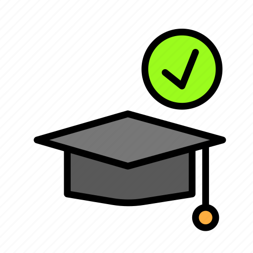approve, graduation, hat, people, student, user icon