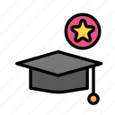 fav, graduation, hat, people, student, user icon