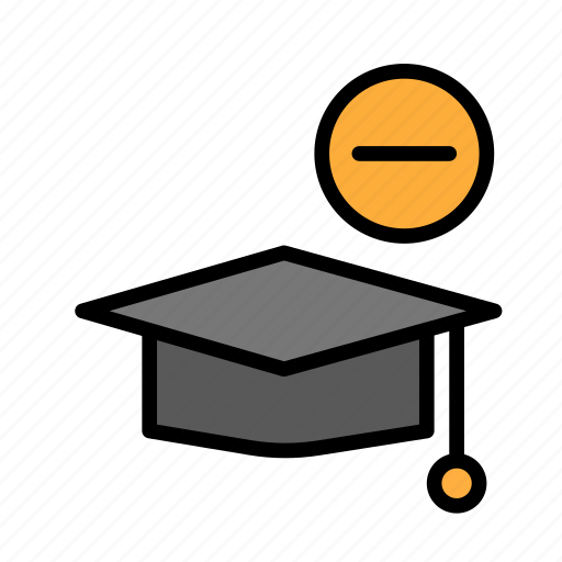 graduation, hat, minus, people, student, user icon