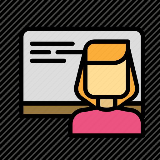 board, language, prof, teacher, user icon