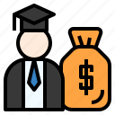 budget, earning, education, fee, money, payment, salary icon
