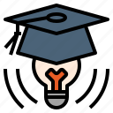 brave, educated, genius, graduation, idea, thinker icon