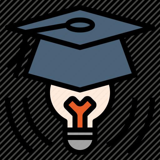 brave, educated, genius, graduation, idea, thinker icon