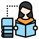 education, learn, library, read, reading, study icon