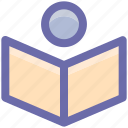 book, book reading, education, knowledge, library, reading, studuent, study icon