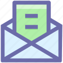 envelope, file, letter, mail, message, open envelope icon