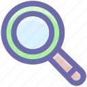 find, glass, magnifier, magnifying glass, search, searching, zoom icon