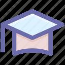 cap, degree, diploma, graduation cap, graduation hat, hat, university icon