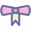 award, certificate, postion, prize, ribbon, school prize icon
