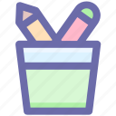 pen, pencil, pencil basket, pencils, school, tools icon