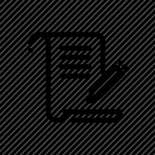 document, edit, file, paper, write icon