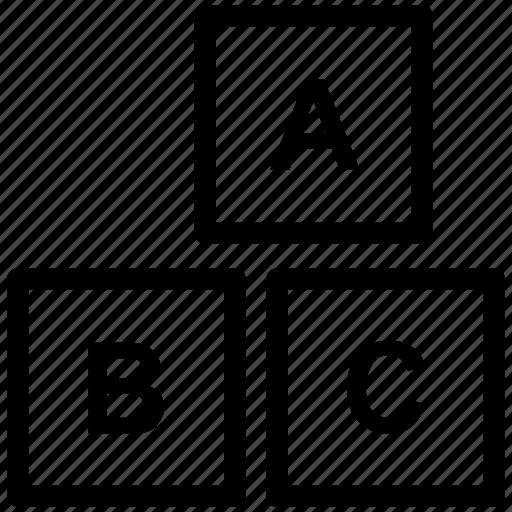 alphabet, box, boxes, child, cube, education, english icon icon