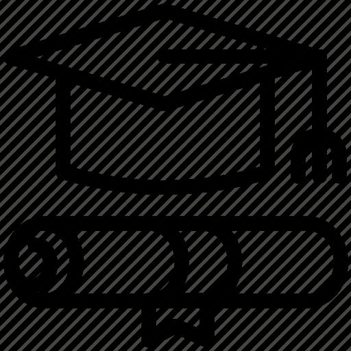 diploma, education, graduation, graduation cap, graduation diploma, graduation hat, tool icon