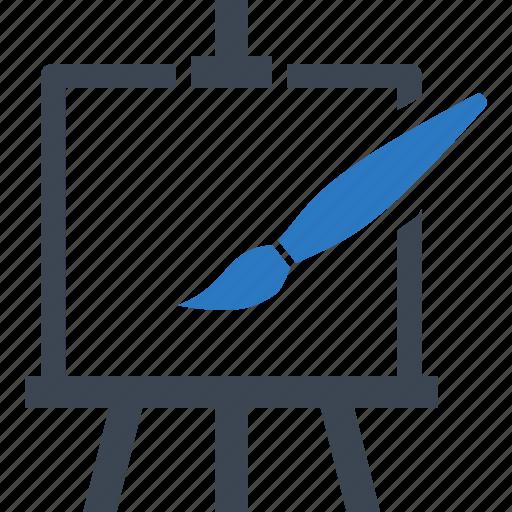 art, creative, design, easel, paint brush icon