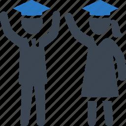 education, graduates, graduation, mortar board, school, students, study icon