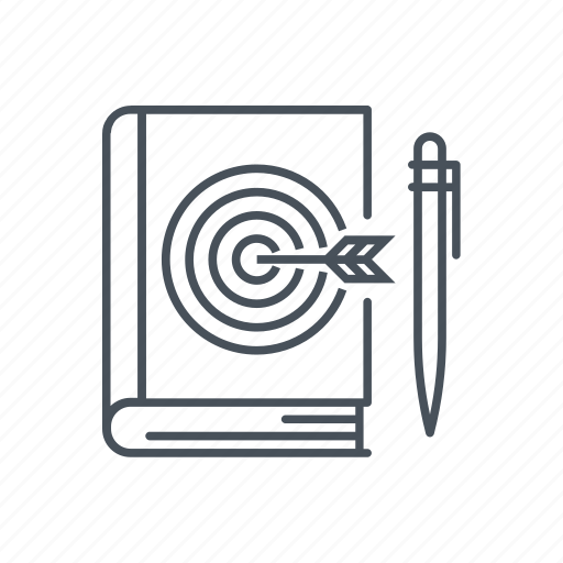 book, know how, learn, pen, read, target, write a book icon