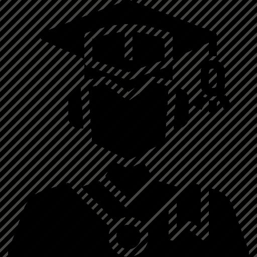 avatar, graduation, man, profile, student, user icon