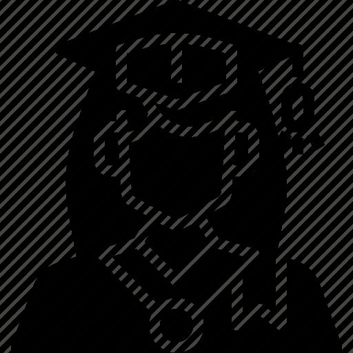 avatar, graduation, profile, student, user, woman icon
