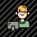 business, communication, e-learning, education, student icon