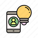 bulb, education, idea, innovation, mobile learning, online courses icon