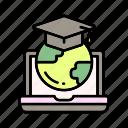 e-learning, education, graduate, school, success, university icon