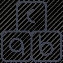 alphabet, blocks, education, english, letter, school icon