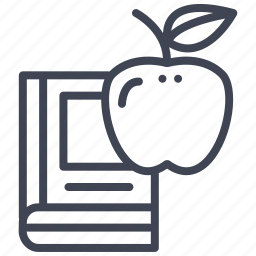 apple, book, education, learning, notebook, reading icon