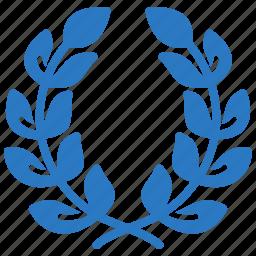 award, laurel wreath, school achievement icon